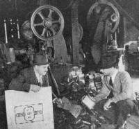 1937 -  J. H. Blum (right), in bell shop with reporter from Sheet Metal Worker